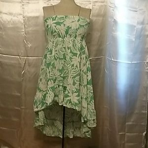 Green and white strapless high low sun dress
